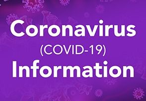 covid information on a purple background