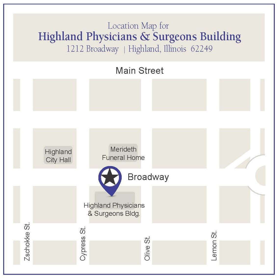 Anderson Highland Physician Building Map